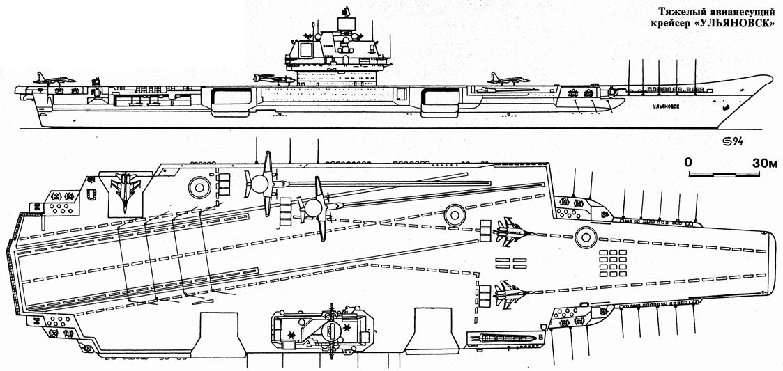 "Tags.  ВиВТ.  Схема авианосца  ""Ульяновск "", с двумя катапультами и трамплином."